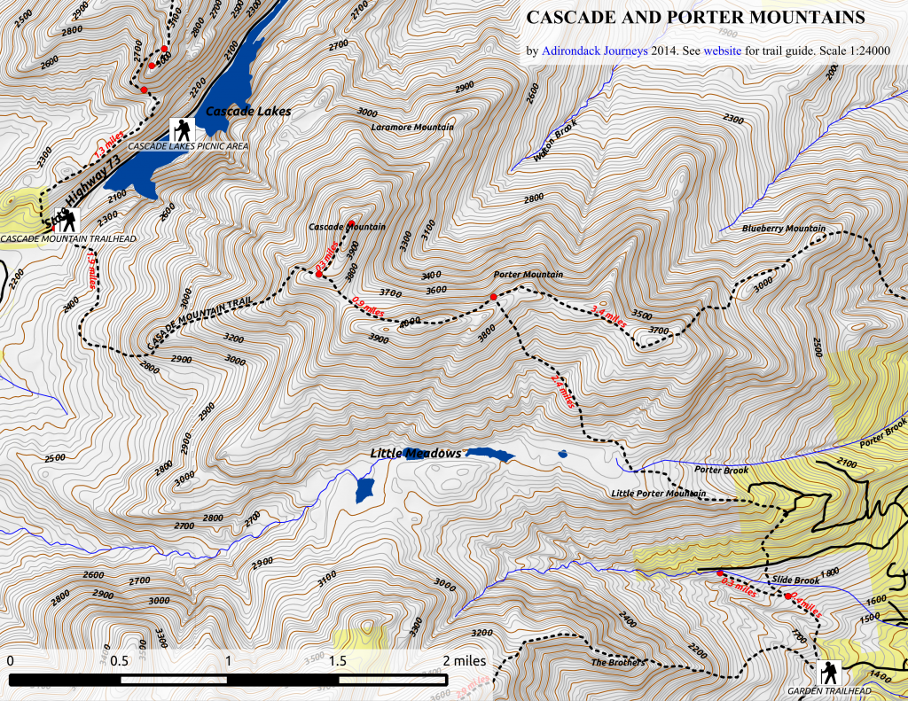 Cascade and Porter Mountain Map (west)