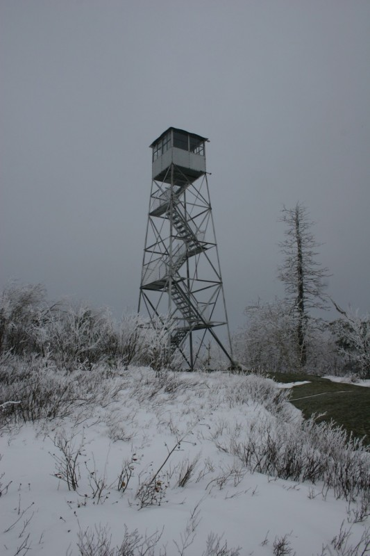 Fire tower in winter