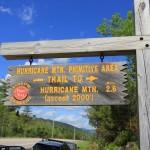 Hurricane Mountain Trailhead Sign